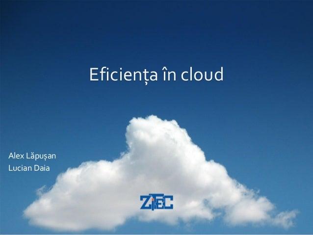 Eficiența în cloudAlex LăpușanLucian Daia