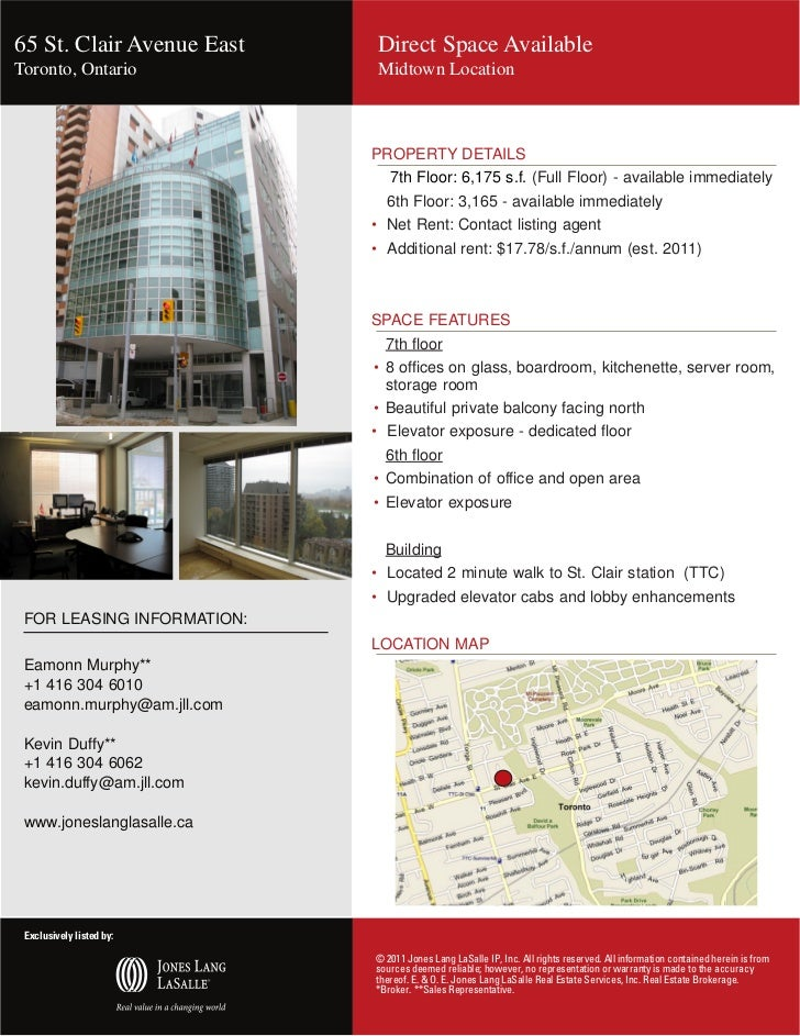 65 St. Clair Avenue East                   Direct Space AvailableToronto, Ontario                           Midtown Locati...