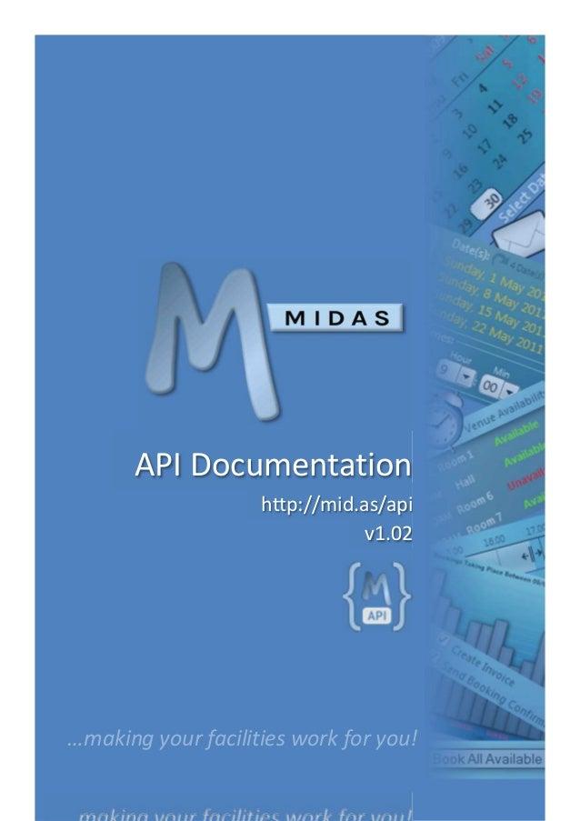 MIDAS Room & Resource Scheduling Software - API Documentation v1.02