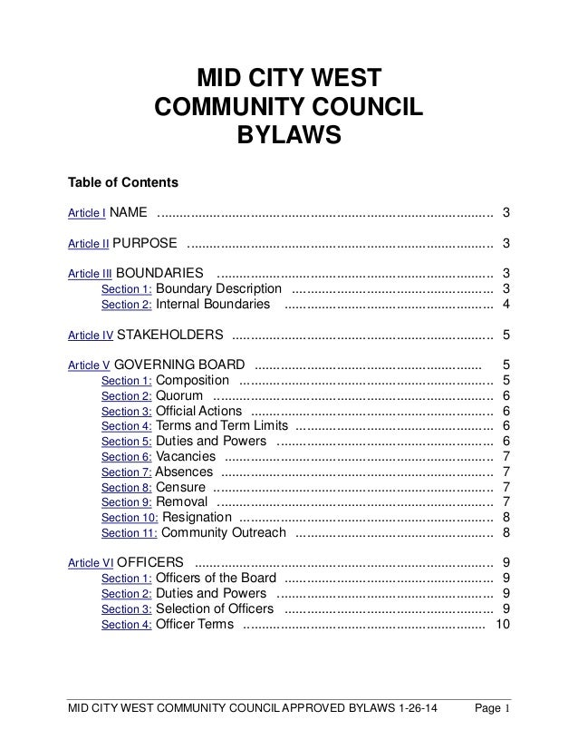 MID CITY WEST COMMUNITY COUNCIL APPROVED BYLAWS 1-26-14 Page 1 MID CITY WEST COMMUNITY COUNCIL BYLAWS Table of Contents Ar...
