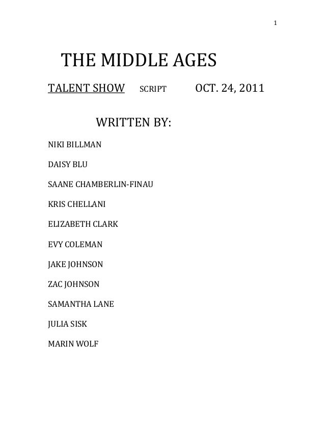 Middle Ages Talent Script