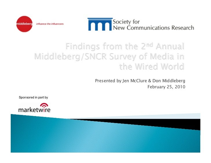 Middleberg/SNCR Study on Media in the Wired World