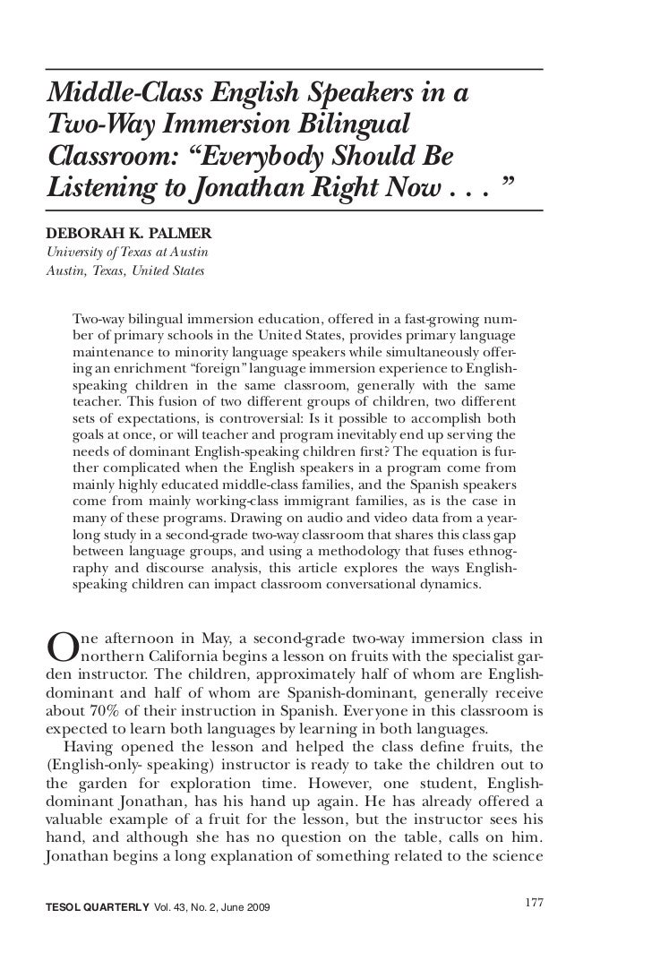 """Middle-Class English Speakers in aTwo-Way Immersion BilingualClassroom: """"Everybody Should BeListening to Jonathan Right No..."""
