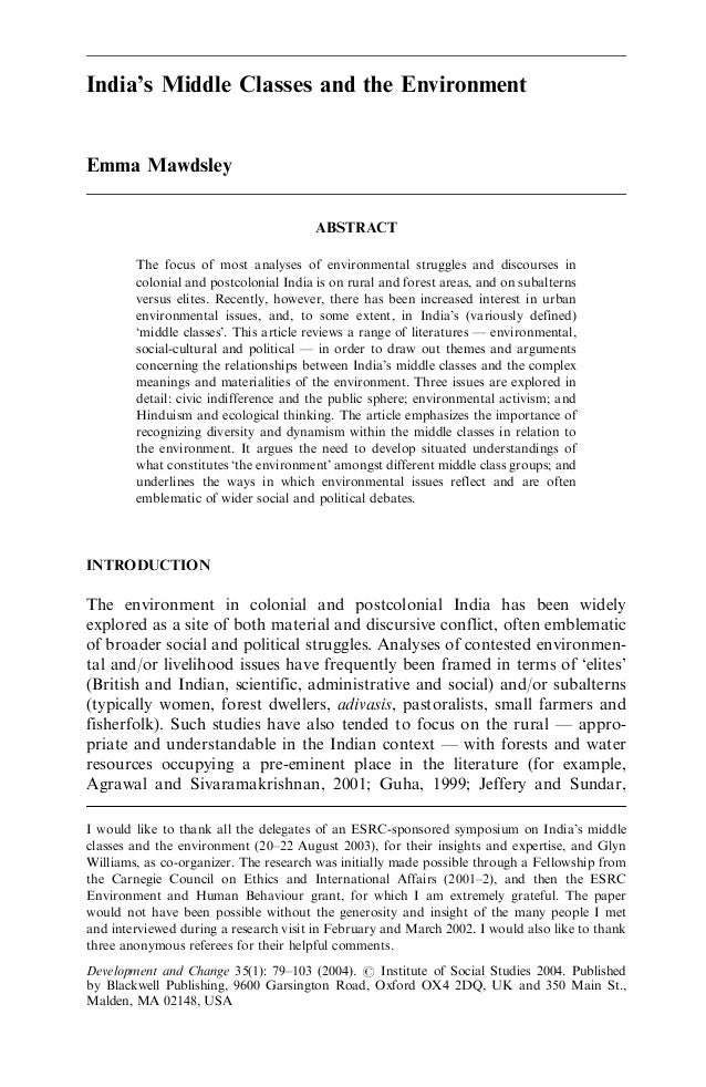 India's Middle Classes and the EnvironmentEmma Mawdsley                                        ABSTRACT        The focus o...