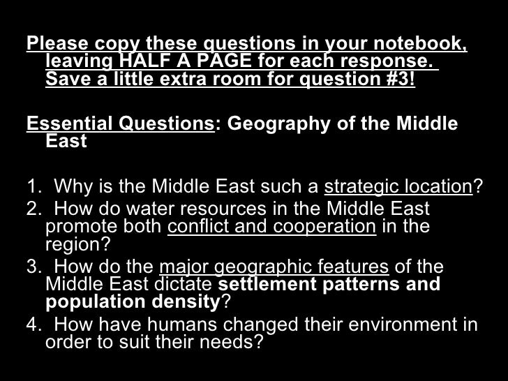 <ul><li>Please copy these questions in your notebook, leaving HALF A PAGE for each response.  Save a little extra room for...