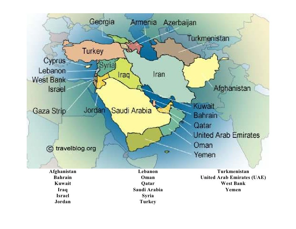 Bahrain Map of Middle East Middle East Map