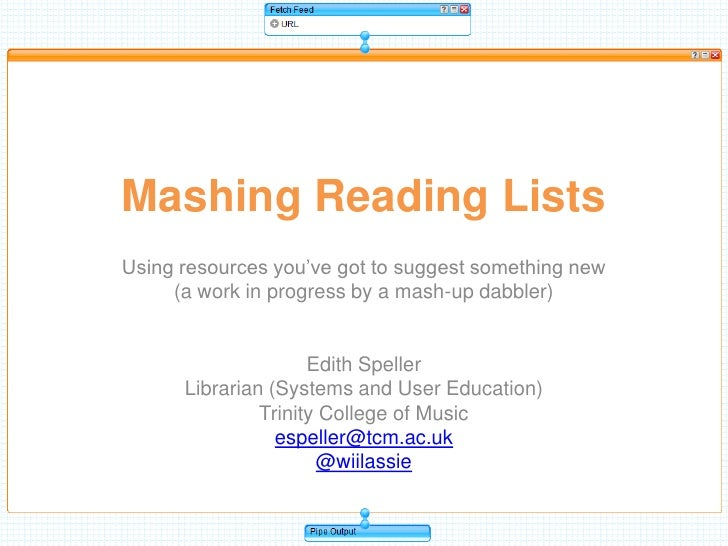 Mashing Reading Lists<br />Using resources you've got to suggest something new <br />(a work in progress by a mash-up dabb...
