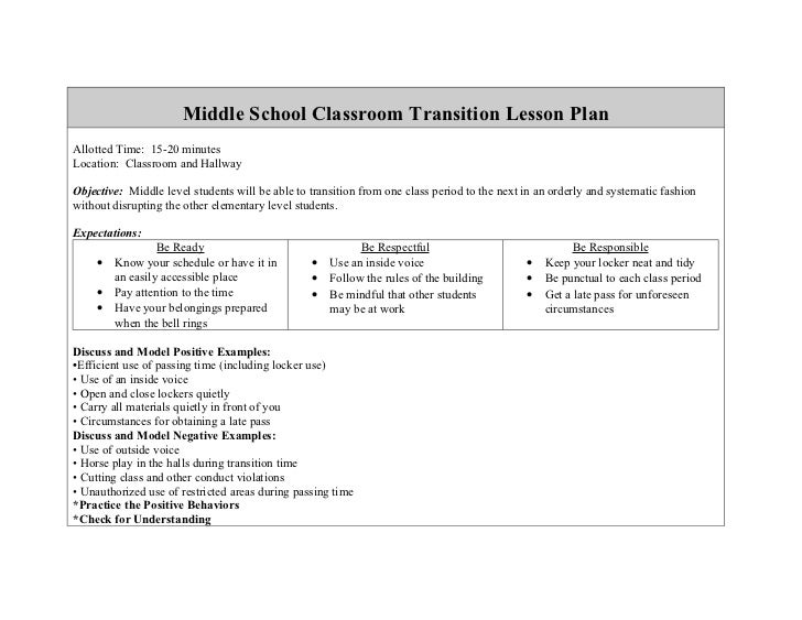 Middle School Classroom Transition Lesson Plan
