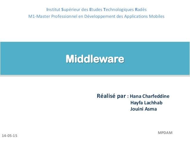 Réalisé par : Hana Charfeddine Hayfa Lachhab Jouini Asma 14-05-15 MPDAM Institut Supérieur des Etudes Technologiques Radès...