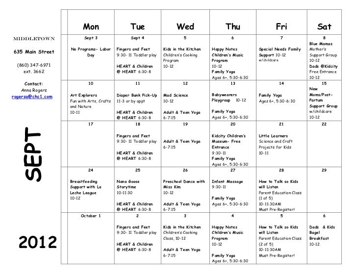 MIddletown, CT Family Wellness Calendar, Sept 2012