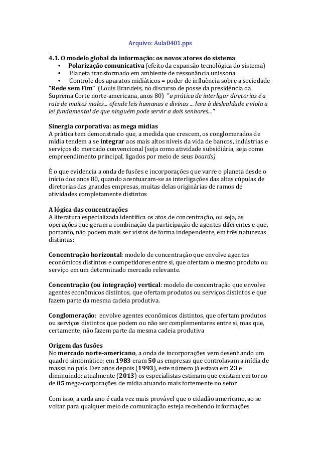 Arquivo:  Aula0401.pps      4.1.  O  modelo  global  da  informação:  os  novos  atores  do  sis...
