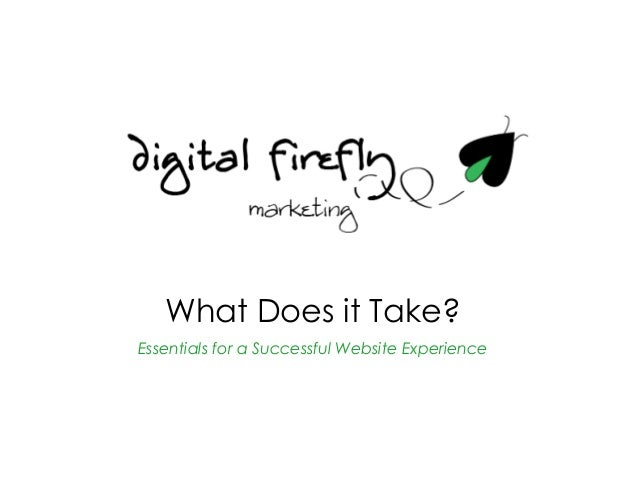 What Does it Take?                           Essentials for a Successful Website Experience© 2012 Digital Firefly Marketin...