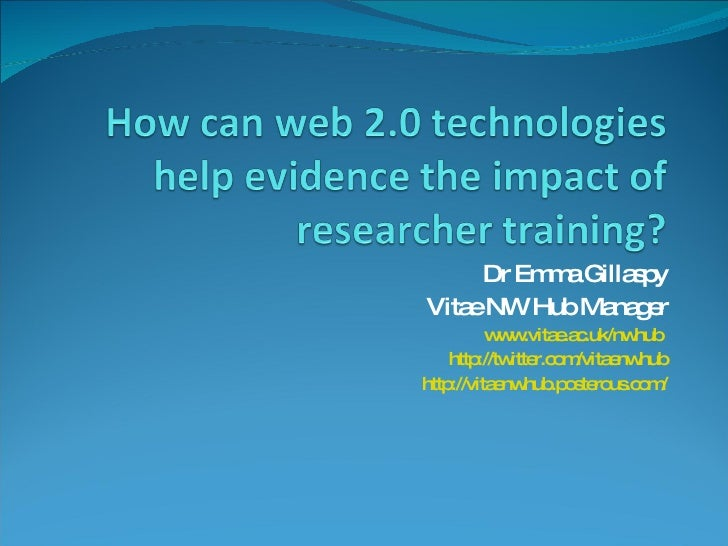 How can web 2.0 technologies help evidence the impact of researcher training?
