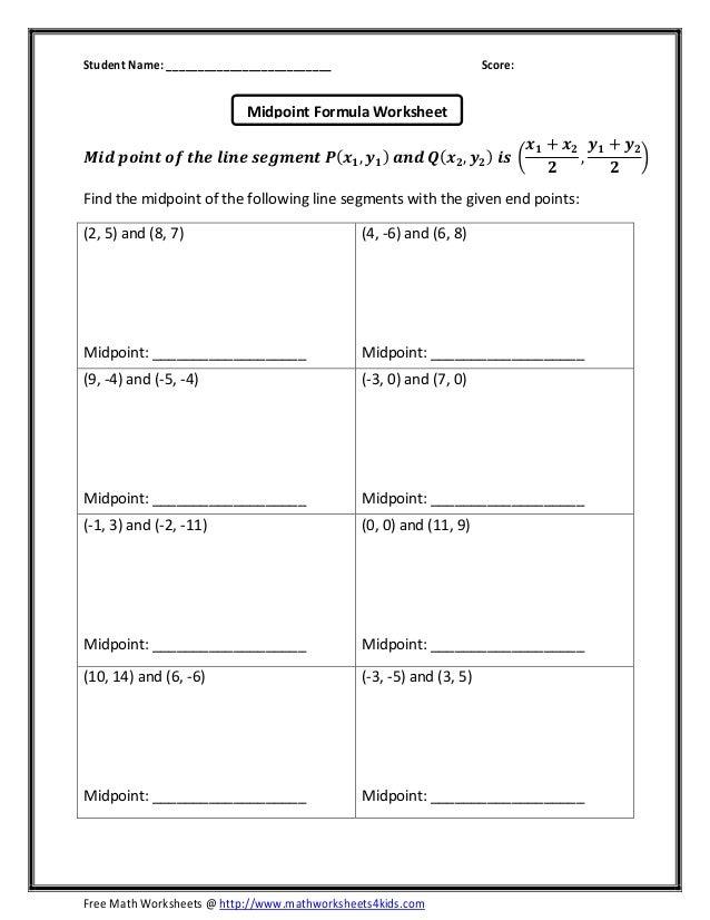 math worksheet : midpoint formula : Free Math Worksheets 4 Kids