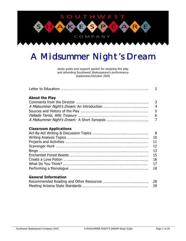 A Midsummer Night's Dream                                  study guide and support packet for studying the play           ...