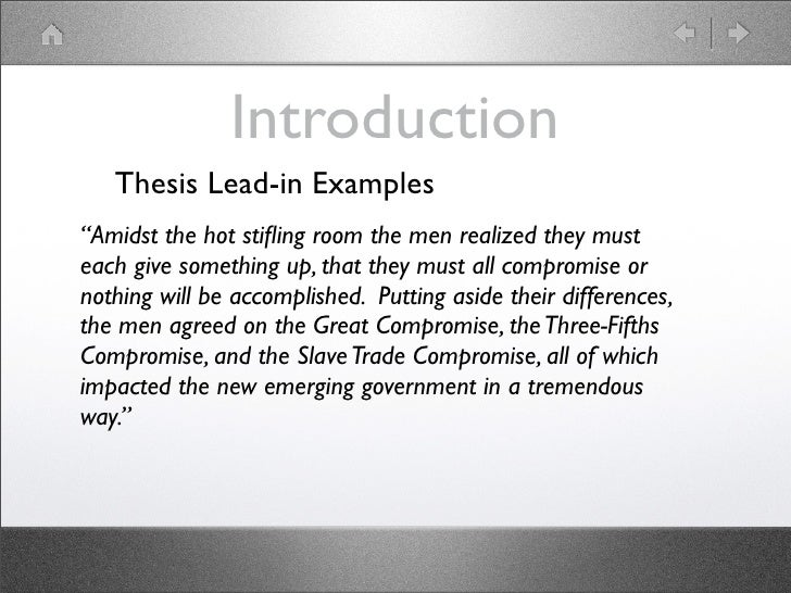 introduction on thesis You should look for a quality thesis introduction example to state the main idea of your essay properly, or you can contact our professional authors.