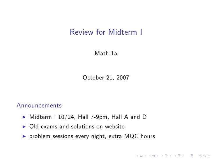 Midterm I Review