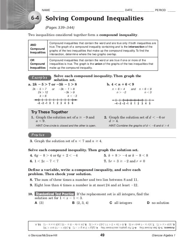 Glencoe Algebra 1 Chapter 6 Worksheet Answers - Worksheets