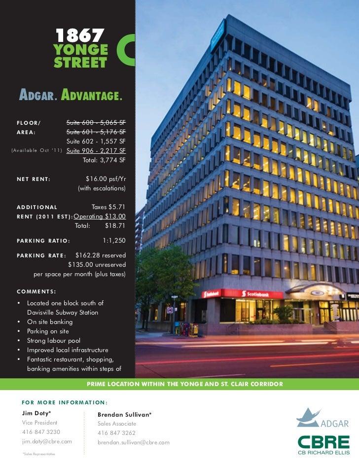 1867                        YONGE                        STREET  ADGAR . ADVANTAGE . F LO O R /                  Suite   6...