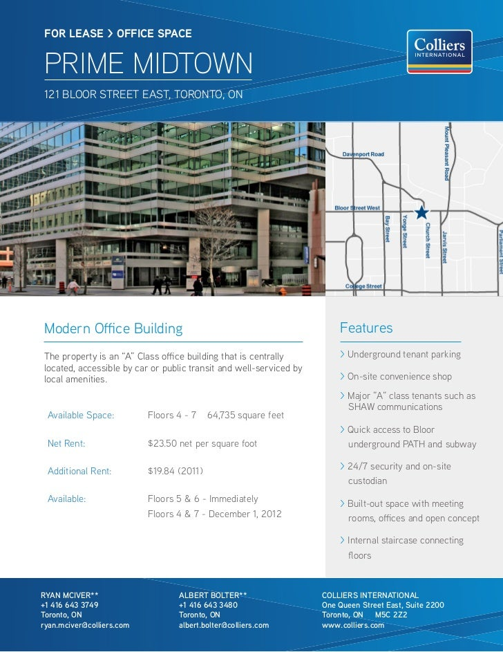 FOR lease > OFFICe sPaCe PRIME MIDTOWN 121 BLOOR STREET EAST, TORONTO, ONModern Office Building                           ...