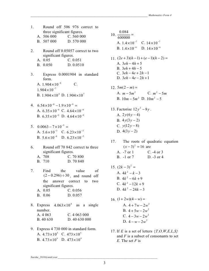 Mathematics Mid Year Form 4 Paper 1 Mathematics