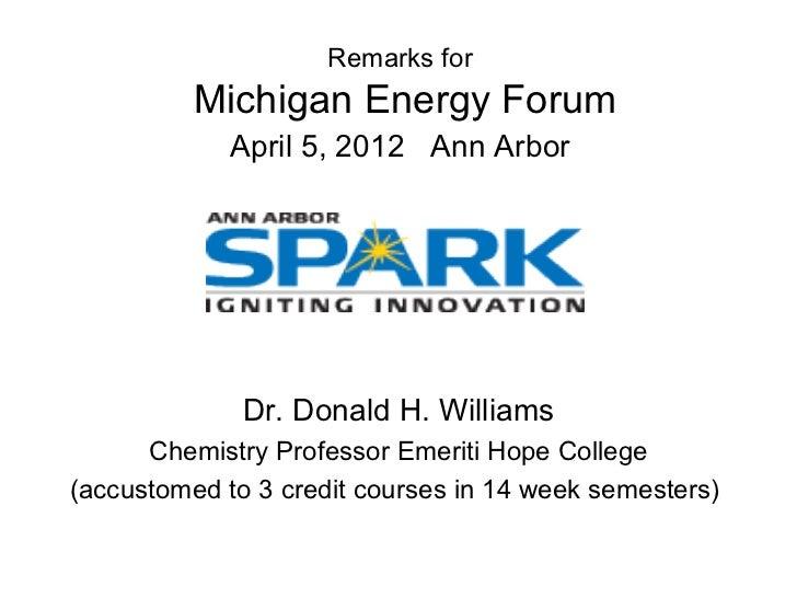 April 2012 - Michigan Energy Forum - Donald H. Williams