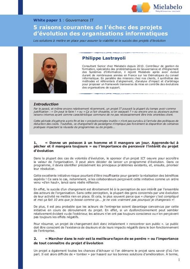 1 White paper 1 : Gouvernance IT Philippe Lastrayoli Consultant Senior chez Mielabelo depuis 2010. Contrôleur de gestion d...