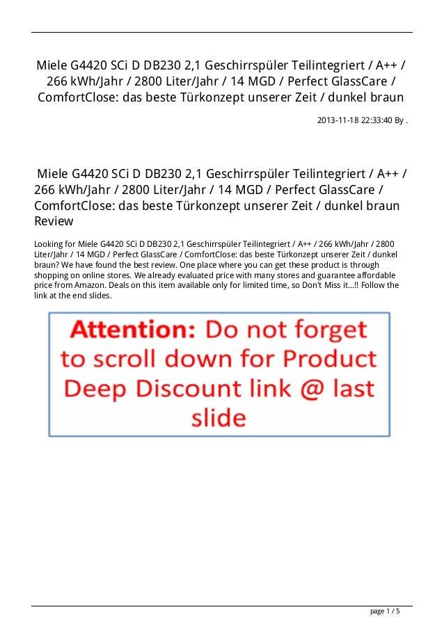 Miele G4420 SCi D DB230 2,1 Geschirrspüler Teilintegriert / A++ / 266 kWh/Jahr / 2800 Liter/Jahr / 14 MGD / Perfect GlassC...