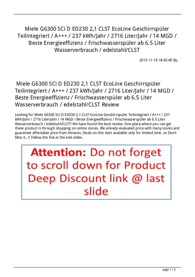 Miele G6300 SCi D ED230 2,1 CLST EcoLine Geschirrspüler Teilintegriert / A+++ / 237 kWh/Jahr / 2716 Liter/Jahr / 14 MGD / ...