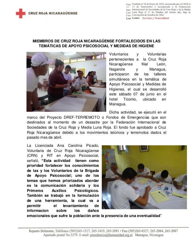 MIEMBROS DE CRUZ ROJA NICARAGÜENSE FORTALECIDOS EN LAS TEMÁTICAS DE APOYO PSICOSOCIAL Y MEDIDAS DE HIGIENE Voluntarios y V...