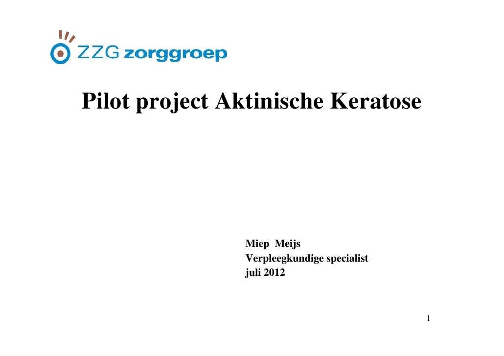 PilotPil t project Aktinische Keratose         j t Akti i h K t               Miep Meijs               Verpleegkundige spe...
