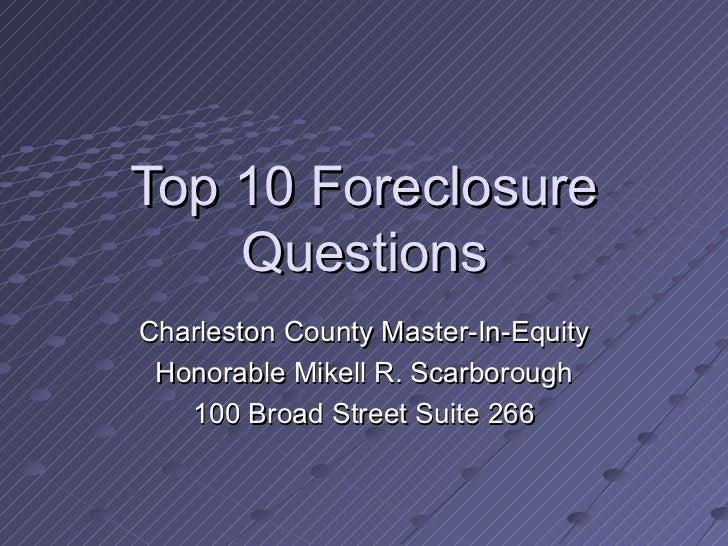 Charleston County Foreclosure Update