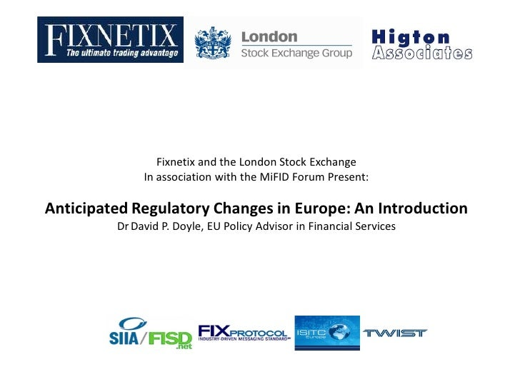Investment services and regulated markets - Markets in financial instruments directive (MiFID)