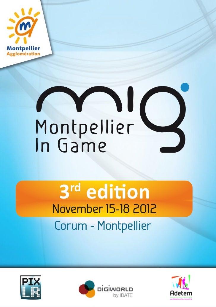 3 edition   rdNovember 15-18 2012Corum - Montpellier