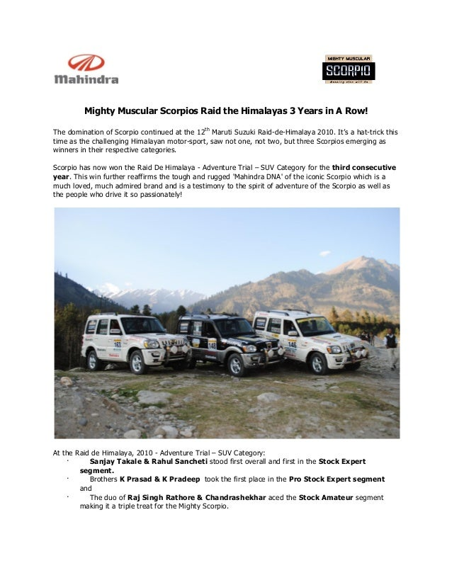 Mighty Muscular Scorpios Raid the Himalayas 3 Years in A Row! The domination of Scorpio continued at the 12th Maruti Suzuk...