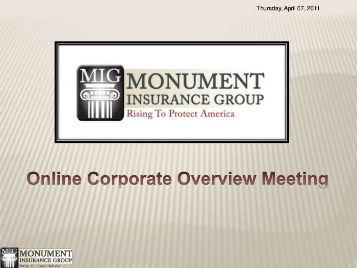 Wednesday, January 05, 2011<br />Wednesday, January 05, 2011<br />Online Corporate Overview Meeting<br />