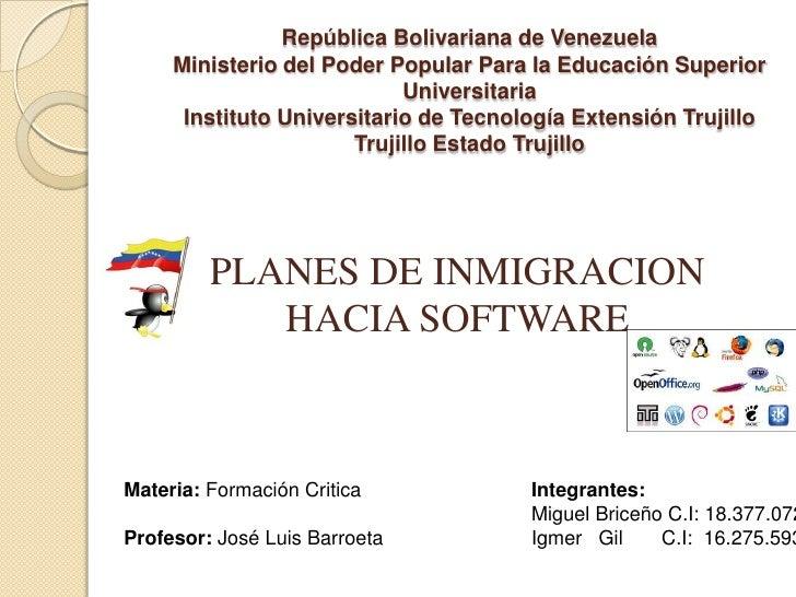 República Bolivariana de Venezuela     Ministerio del Poder Popular Para la Educación Superior                            ...