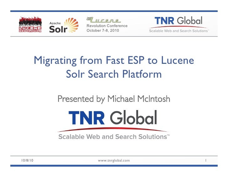 Migration from FAST ESP to Solr