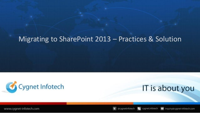 Migrating to share point 2013 – practices and solution