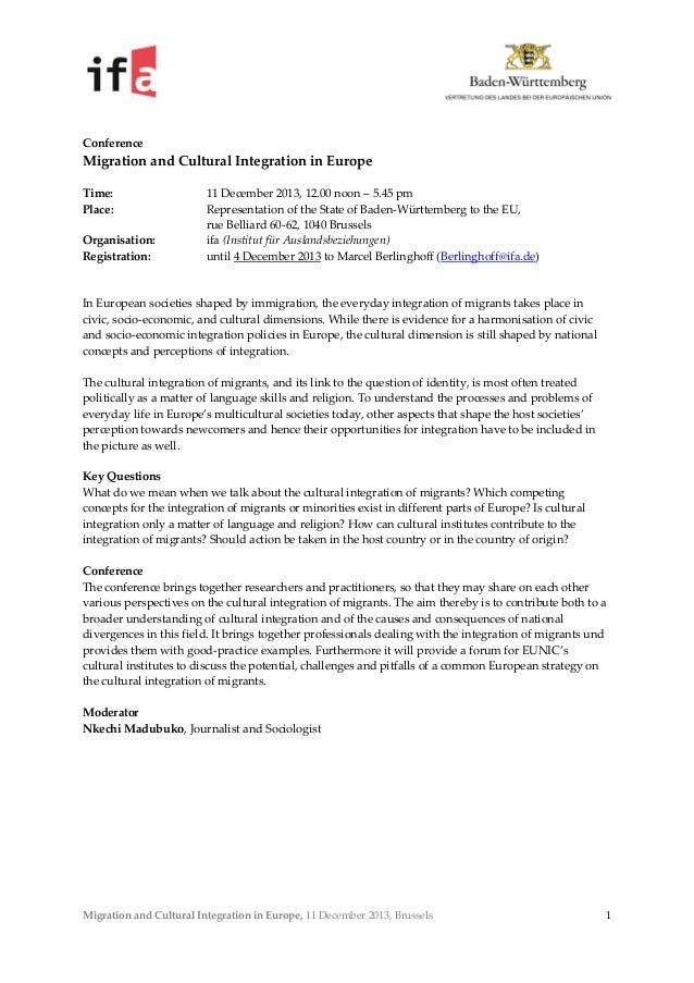 MIGRATION AND CULTURAL INTEGRATION IN EUROPE – BRUSSELS – 11 DECEMBER 2013