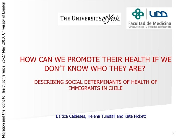 Describing Social Determinants of Health of Immigrants in Chile, Baltica Cabieses