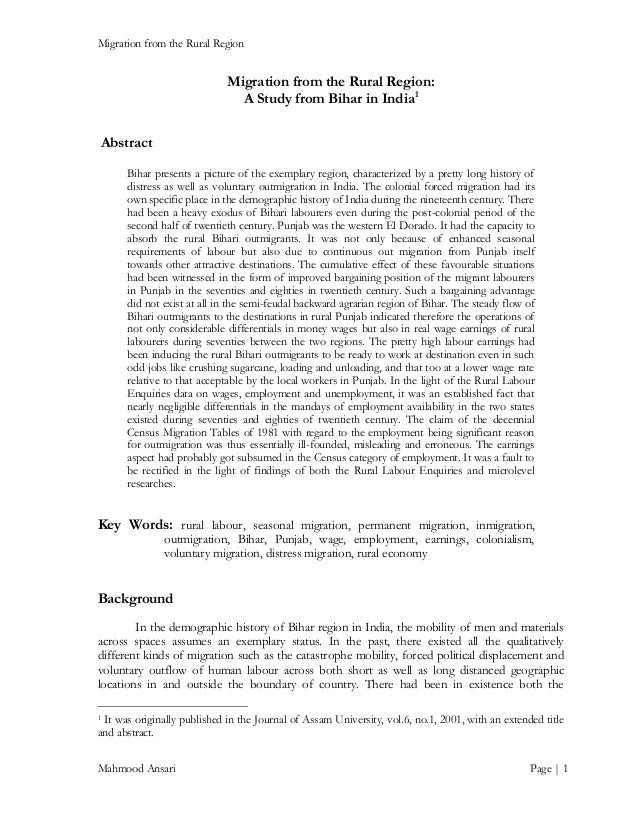 Migration from the Rural Region  Migration from the Rural Region: A Study from Bihar in India 1 Abstract Bihar presents a ...