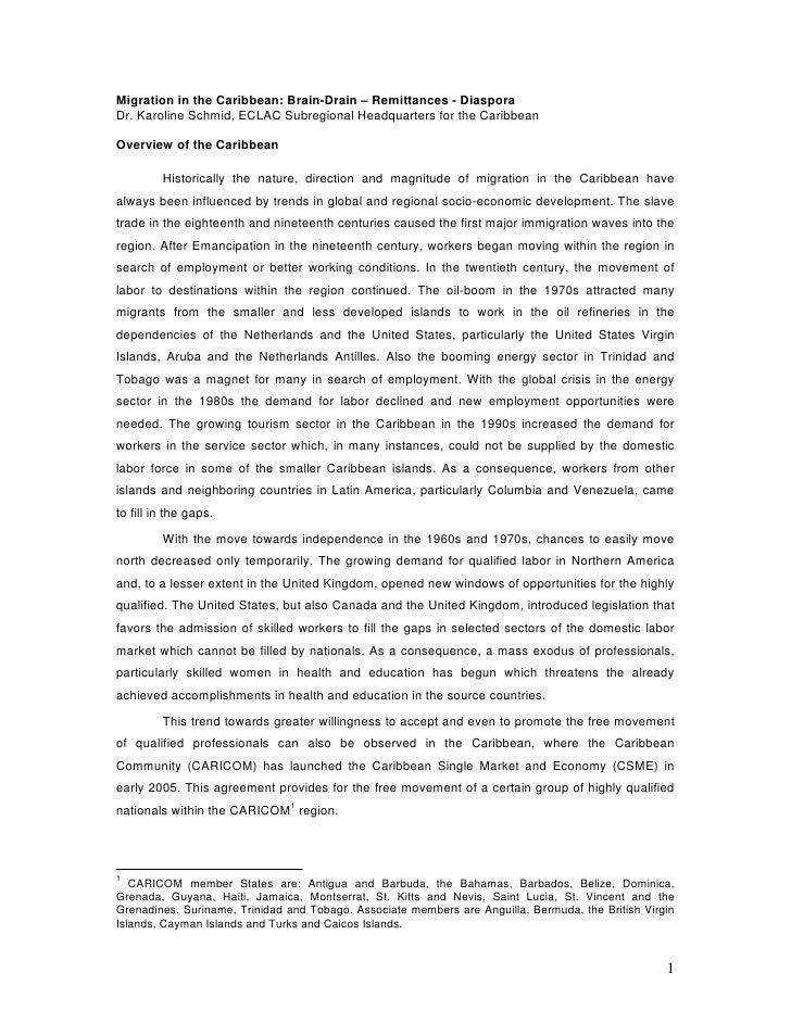 Migration in the Caribbean: Brain-Drain – Remittances - Diaspora Dr. Karoline Schmid, ECLAC Subregional Headquarters for t...