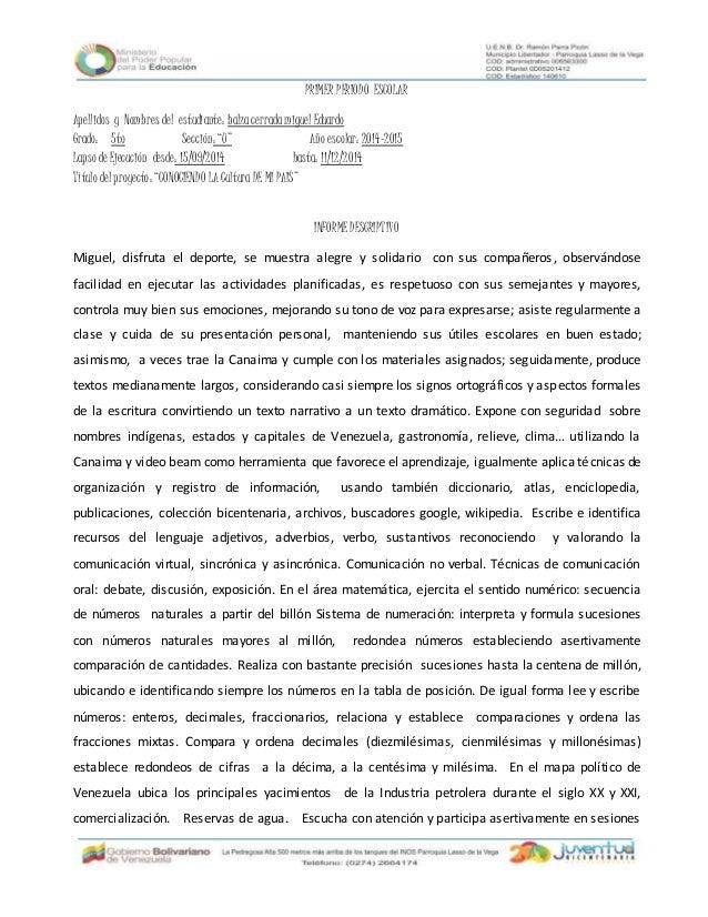 PRIMER PERIODO ESCOLARApellidos y Nombres del estudiante