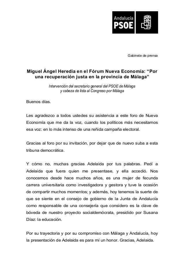 """Gabinete de prensa Miguel Ángel Heredia en el Fórum Nueva Economía: """"Por una recuperación justa en la provincia de Málaga""""..."""