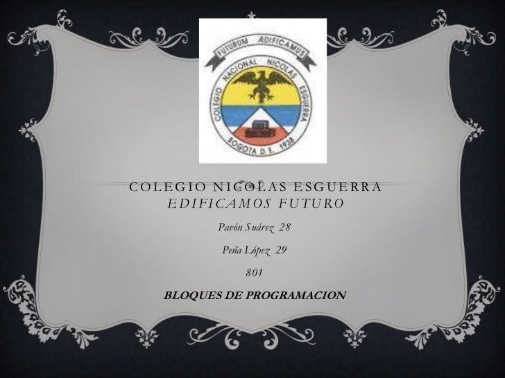 COLEGIO NICOLAS ESGUERRA   EDIFICAMOS FUTURO         Pavón Suárez 28          Peña López 29              801   BLOQUES DE ...