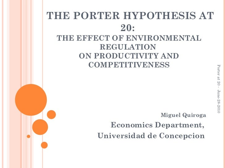 THE PORTER HYPOTHESIS AT 20:  THE EFFECT OF ENVIRONMENTAL REGULATION  ON PRODUCTIVITY AND COMPETITIVENESS Miguel Quiroga E...