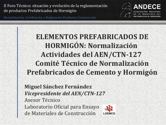 Miguel Sánchez Fernández Vicepresidente del AEN/CTN-127 Asesor Técnico Laboratorio Oficial para Ensayo de Materiales de Co...