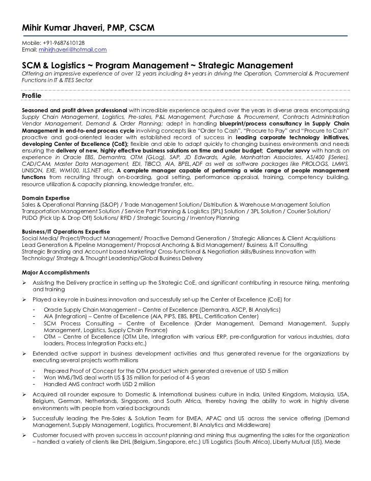 Mihir Kumar Jhaveri, PMP, CSCMMobile: +91-9687610128Email: mihirjhaveri@hotmail.comSCM & Logistics ~ Program Management ~ ...