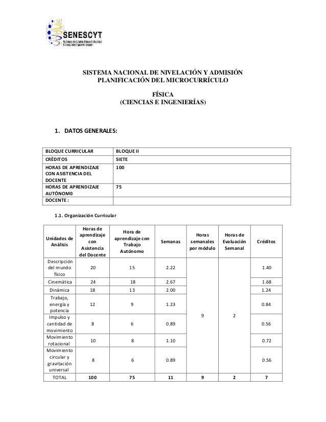 SISTEMA NACIONAL DE NIVELACIÓN Y ADMISIÓN PLANIFICACIÓN DEL MICROCURRÍCULO FÍSICA (CIENCIAS E INGENIERÍAS) 1. DATOS GENERA...